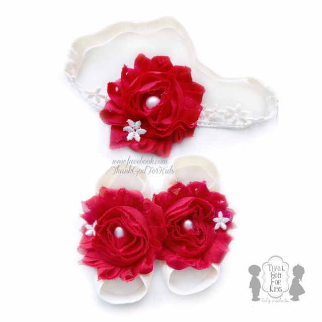 7f0554ae85e02 Red & White Jasmine Lace Headband & Barefoot Sandals (for SG National Day,  SG51, Babies, Kids, Newborn Photography, Wedding, Christening, Birthday ...