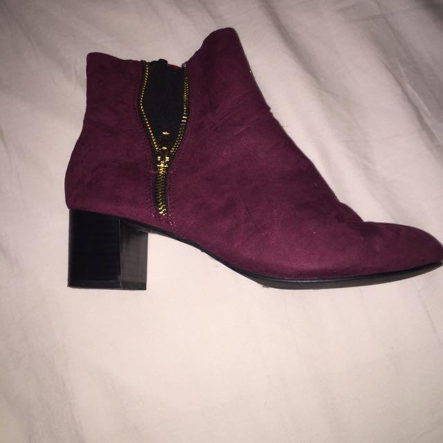 maroon heel boots