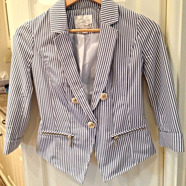 Navy Blue Striped Nautical blazer (Dynamite, retail $45+)