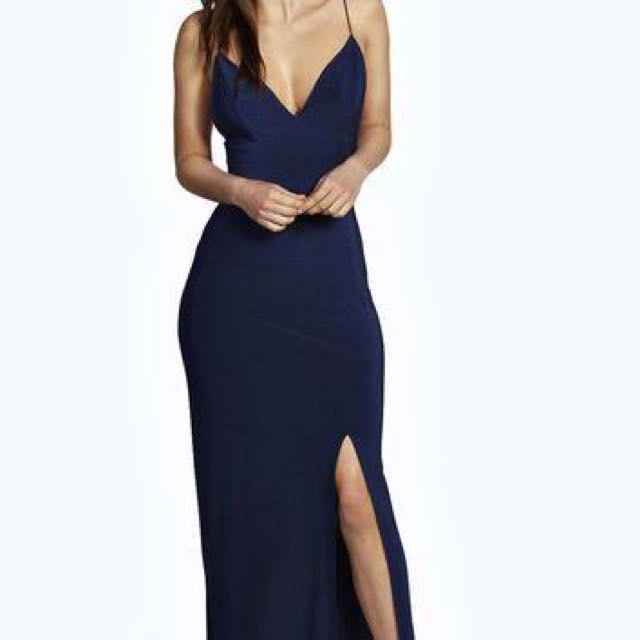 Navy slinky maxi dress (from boohoo)