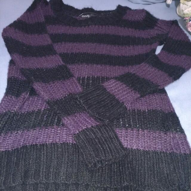 Purple & Black Striped Sweater