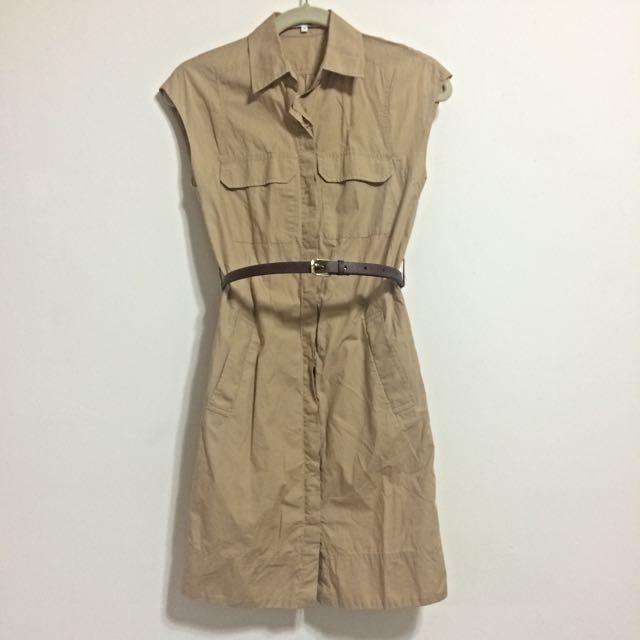 (預定)【singlenoble】卡其色挺版氣質OL短袖洋裝 - 正品