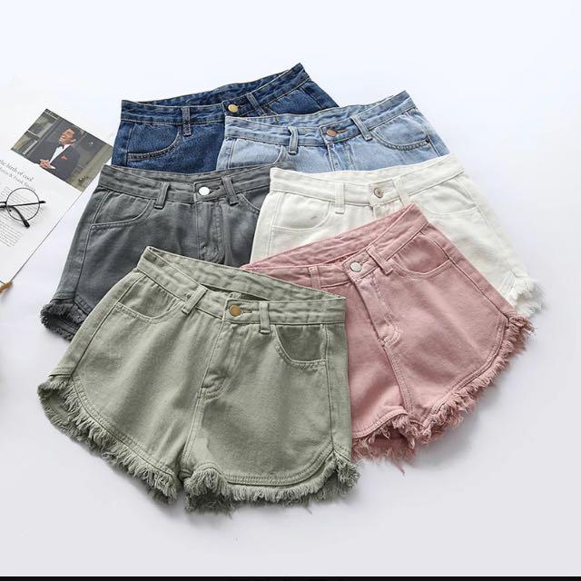 韓國uzzlang學院風復古高腰牛仔短褲磨破毛須邊顯瘦百搭休閒熱褲