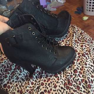 Black Lace Up Boots SOLD
