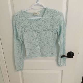 small mint lace Abercrombie Crop top