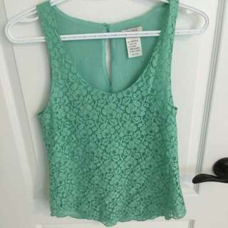 Tiffany blue lace tank top