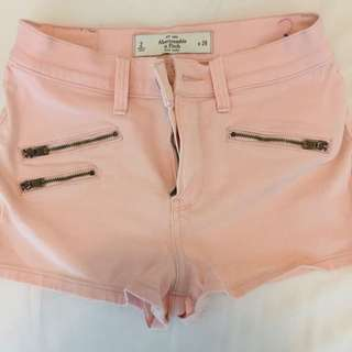 pink high waisted Abercrombie shorts