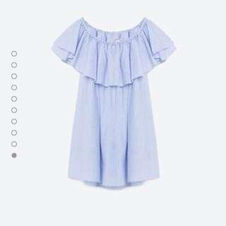 Zara一字領連身洋裝