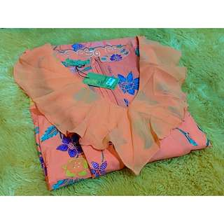 MAYANG Batik Maxi Dress Peach