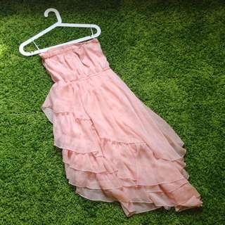 【Price dropped!】 pink shiffon asymmetry dress