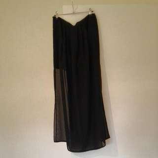 Long Black Sheer Skirt ZARA SIZE 12