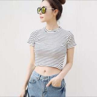 Black & White Strips Crop T-shirt