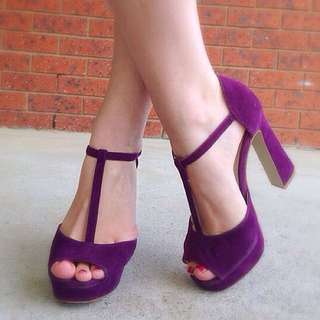 Suede T Bar Novo Heels