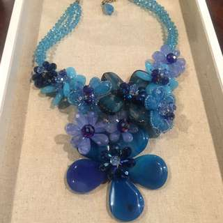 Blue Jade And Silver Statement Necklace