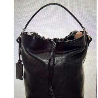 Burberry Brit Pebbled Nova Bucket Drawstring Shoulder Bag (Preloved)