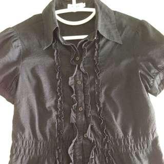 Cute Flair Black Blouse
