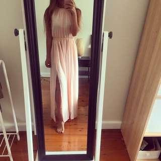Summer Maxi Dress In Silk Peach