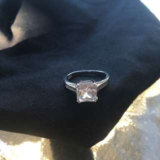 Sterling Silver Plated Cubic Zirconia Ring
