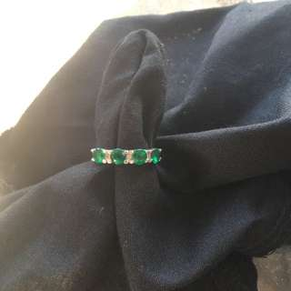 9ct White Gold Diamond And Created Emerald Ring