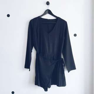 Wrapped Pleated V Neck Romper