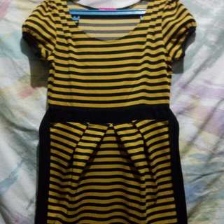 yellow-black stripes mini dress