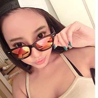 韓國熱銷 歐美街拍Vogue  復古金屬反光橢圓太陽眼鏡 貢寮海洋音樂祭