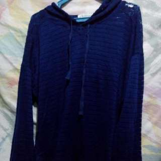 Royal blue pull-over with hood, long back