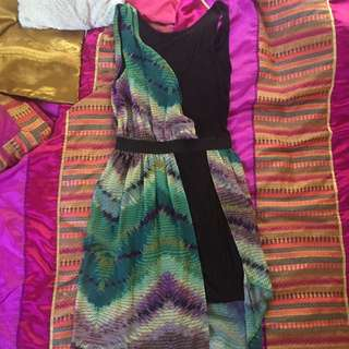 Black Dress With Multi Colour Overlay