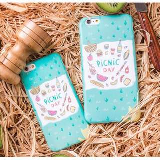 貓咪 野餐 蒂芬尼綠 iphone6 iphone6s 全包軟殼 手機殼