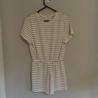 White With Black Stripes Playsuit Size Large