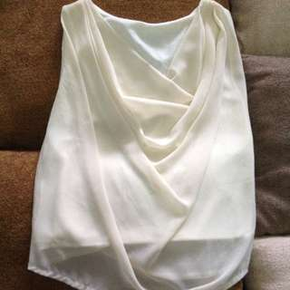 Off White Drapey Front Top