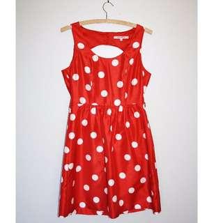 Retro orange polka-dot tea dress. Size 8.