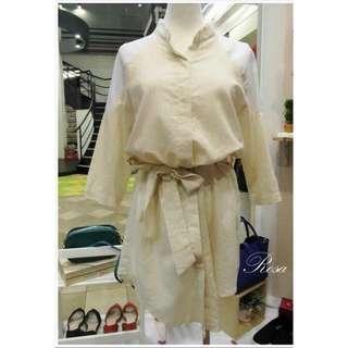 ✨全新✨拼接棉綁帶襯衫