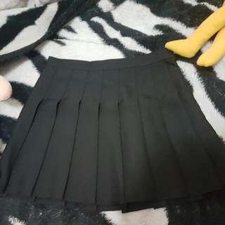 Korea Style Black Tennis Pleated Skirt