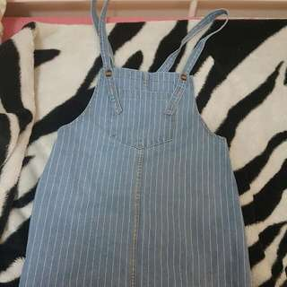 Yesstyle Korean Style Denim Striped Overall Pinafore Dress