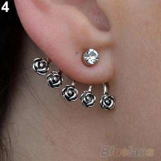 Silver Plated Ear Cuff Fashion earring Rhinestone and Roses Ear Jacket  One Only