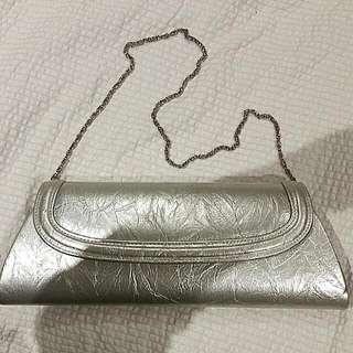 OLGA BERG Metallic Silver Handbag /clutch.