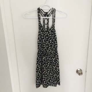 F21 Strappy Black Daisy Dress
