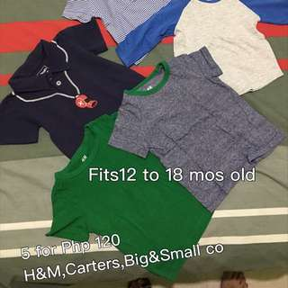 Reserved 5 Pcs @120 Shirts For 1 Yr Old