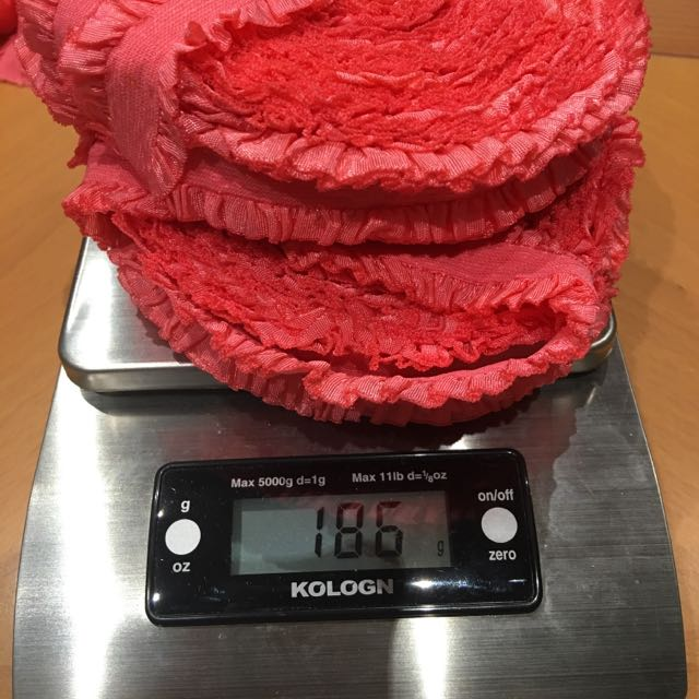 2 Lots Of Coral Pink Ruffle Elastic 186g 2.8cm