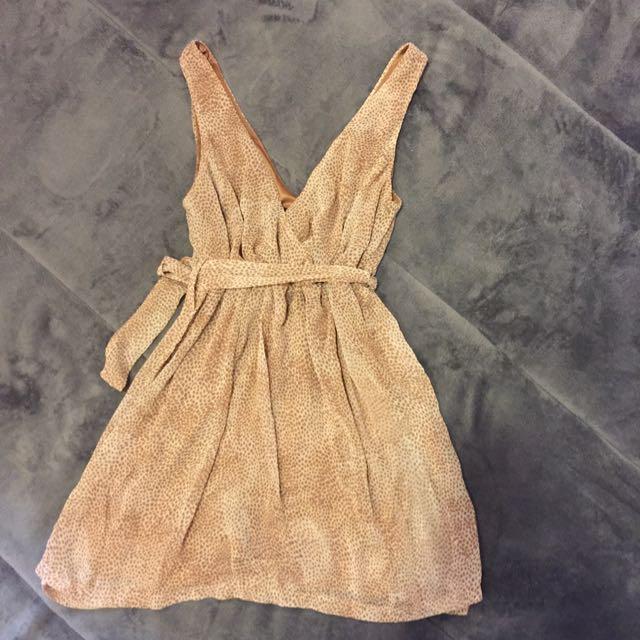 50% 豹紋雪紡V型小洋裝