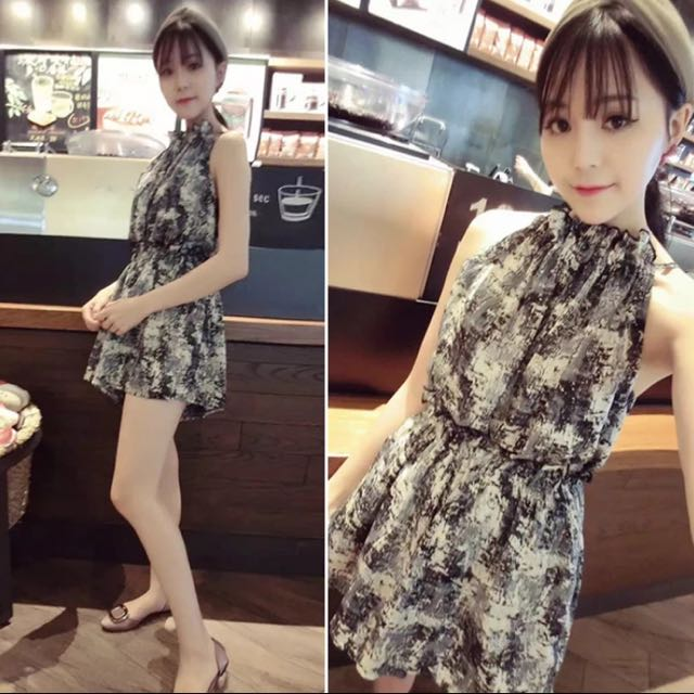 氣質復古花色露肩顯瘦雪紡連身裙(預購)