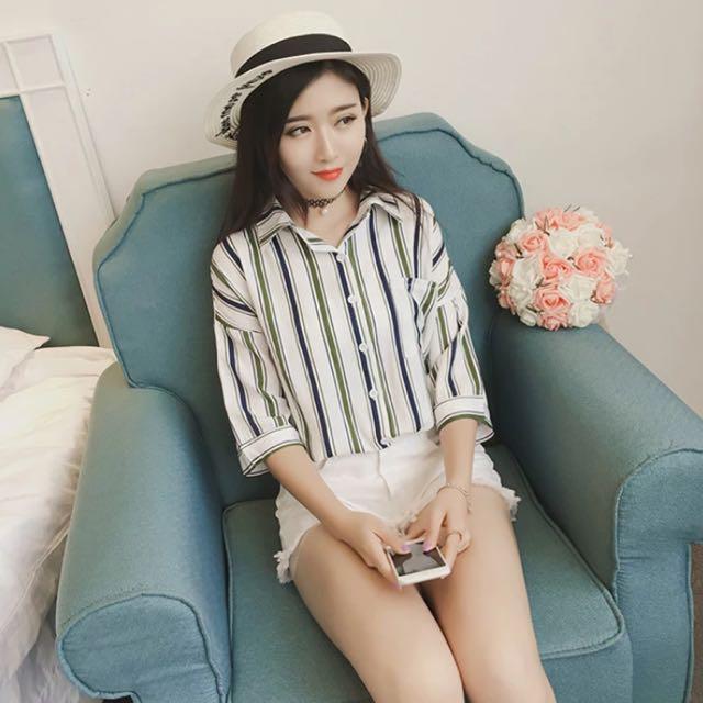 韓國時尚寬鬆竪條紋棉麻五分袖襯衫