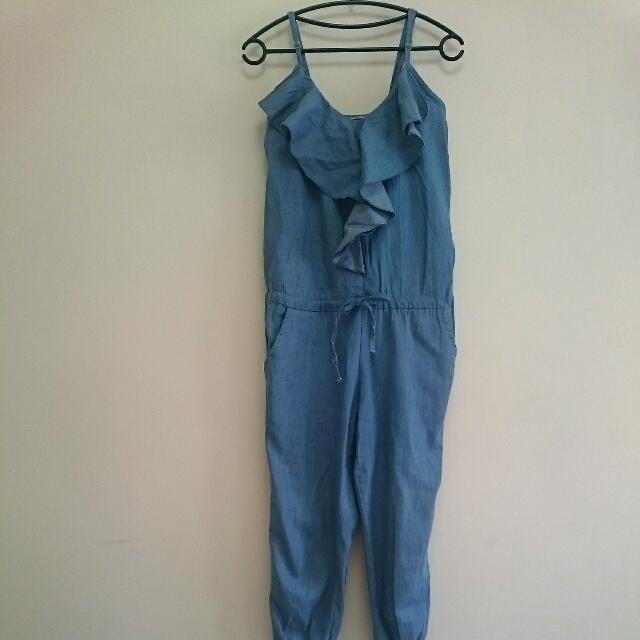 [換季拍賣]牛仔吊帶連身褲~淺藍色