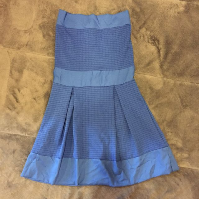 寶藍色平口小洋裝