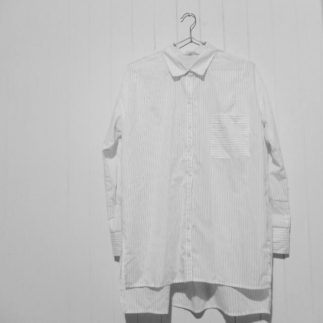 ⚡細條紋長版襯衫