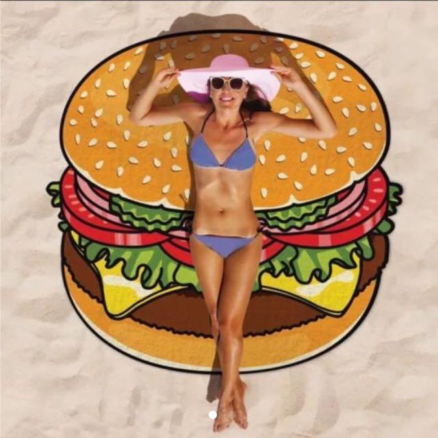 歐美最火紅 漢堡沙灘巾