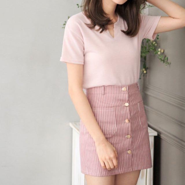 條紋窄裙 粉紅