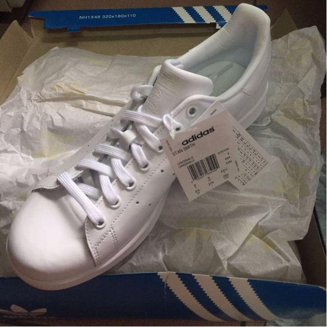 adidas Stan Smith US9.5 愛迪達 全白 皮革 男女鞋 經典款 復古 情侶鞋 S75104