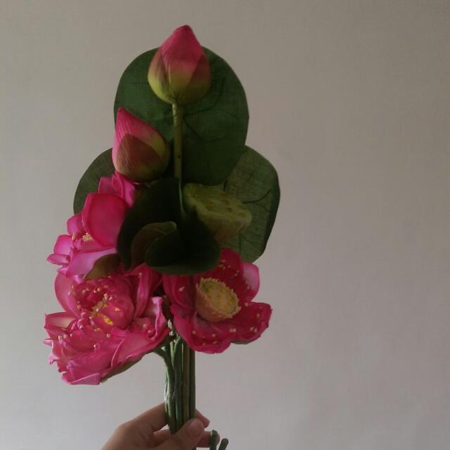 Artificial Plastic Fake Lotus Flower Flowers Plants